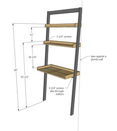 Ana White   Build a Leaning Wall Ladder Desk   Free and Easy DIY Project and Furniture Plans