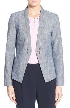 Ivanka Trump Zip Detail Linen & Cotton Jacket