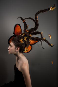 fantasy hair, monarch butterfly, hair butterfly