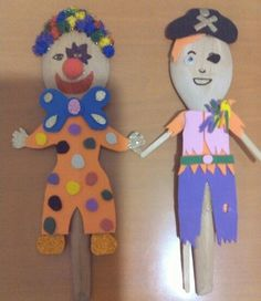 Palyaço&korsan ## clown&pirate kuklalar ## wooden spoons## kaşık kuklalar