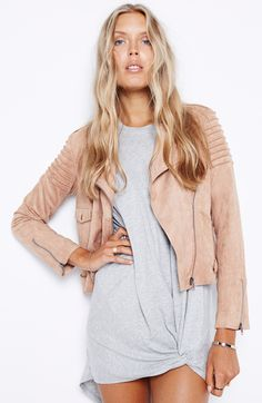 Everyday Suede Jacket by Mink Pink. Pretty blush colour though unfortunately this hue does nothing on me.