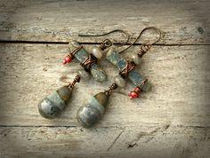 Kyanite and Labradorite Earrings, Bohemian Tribal Earrings, Ceramic Droplet Earring, Niobium Earwires.