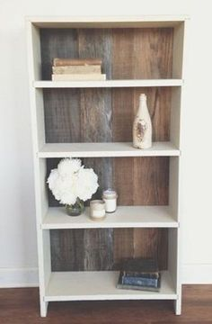 upcycled shelf with a wooden backdrop