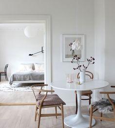 scandinavian interior design, scandinavian love song, wegner wishbone chair, flos 265, ikea table, samsung serif television