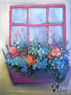 """Contemporary Artists of Florida: Window Flower Box Painting, Daily Painting, Small Oil Painting, """"My Flower Box"""", 6x8"""" Oil"""