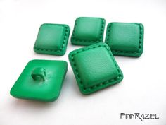5 green buttons 20mm shank buttons square jacket buttons