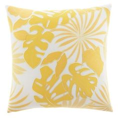 Tommy Bahama 'Antique Palm' Accent Pillow (¥4,505) ❤ liked on Polyvore featuring home, home decor, throw pillows, pillows, interior, sunglow yellow, yellow throw pillows, embroidered throw pillows, antique home decor and yellow home accessories