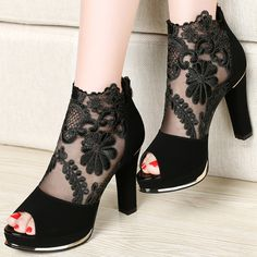 Lace Platform High Heel Hollow Out Buckle Sandals Ankle Boots