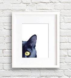 Cat – Black Cat – Art Print – Sneaky Black Cat – Wall Decor – Watercolor Painting About the. Watercolor Cat, Watercolor Paintings, Cat Drawing, Painting & Drawing, Painting Canvas, Black Cat Art, Cat Art Print, Cat Noir, Cat Wall