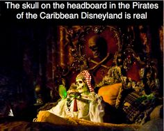 The skull on the headboard in the Pirates of the Caribbean in Disneyland is actually real. A Disneyland Cast Member confirmed it on video for us. Disneyland Paris, Disneyland Secrets, Disney Secrets, Vintage Disneyland, Disneyland Today, Disney Cruise Line, Disney Parks, Disney Disney, Parc Eurodisney