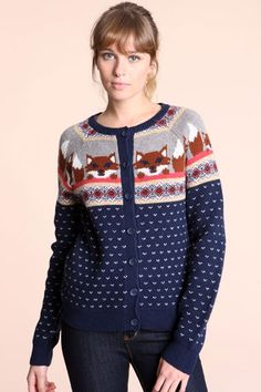 Urban Outfitters - Cooperative Fox Intarsia Cardigan - StyleSays