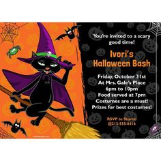 The Black Cat Personalized Invitations are x and comes with one white envelope. Birthday Box, Birthday Treats, Happy Birthday, Personalized Books, Personalized Invitations, Royal Invitation, Halloween Displays, Cute Stories, Sofia The First