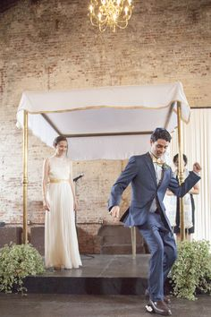 White + Gold Huppah    Photography By / http://sarahhoppes.com