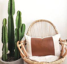 Saguaro Pillow Cover | Leather Pillow, Mudcloth Pillow, Morocco Leather, White Mudcloth, Boho Pillow, African Fabric