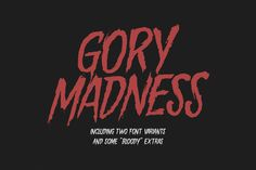 "Gory Madness Font: ""Gory Madness"" is a horror genre font, inspired by vintage movie posters from the Made for logos, headlines, apparel design etc. Cute Fonts, Fancy Fonts, All Fonts, Awesome Fonts, Graphic Design Fonts, Graphic Art Prints, Linux, Typography Letters, Lettering"