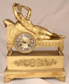 Very Fine French Empire Ormolu Gilt Mantel Clock w/ Classical Figure c. 1815