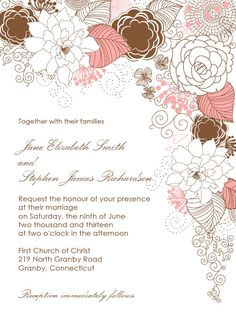 FREE PDF Download - Floral Garden Wedding Invitation, easy to edit and print at home. for diy brides.