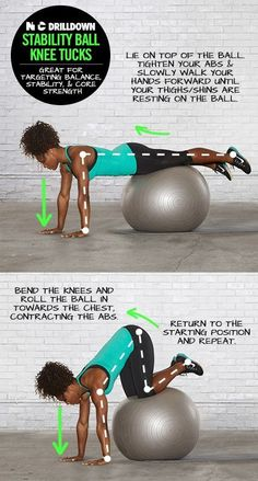 I did this move from Serena this morning. Such a great one for building ab strength! Exercices Swiss Ball, Excercise, Exercise Ball, At Home Workouts, Ball Workouts, Yoga Fitness, Health Fitness, Preparation Physique, Stability Ball Exercises