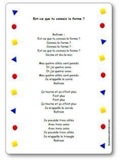French Teaching Resources, Teaching French, Teacher Resources, French Language Lessons, French Lessons, Teaching Math, Kindergarten Math, Preschool, Shape Songs
