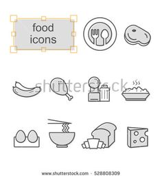 Thin line icons set, Linear symbols set, Food Photo by thesomeday123 on Shutterstock