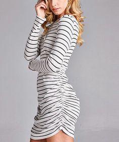 Look what I found on #zulily! Black & White Stripe Ruched Shift Dress #zulilyfinds