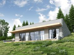 DOM.PL™ - Projekt domu DCE Z WIDOKIEM NA SŁOŃCE CE - DOM TK1-78 - gotowy koszt budowy Earth Sheltered Homes, Earthship Home, Cottage Floor Plans, Mountain House Plans, Porch Garden, Underground Homes, Dome House, Earth Homes, Natural Building