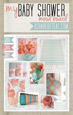 Coral Aqua Grey, Baby Shower Ideas,  Mood Boards