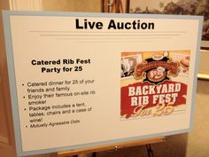 Great item for your Live Auction.  Think of it as a Party in a Box.  Toss in tables, tent, musical entertainment, use of a cool location, adult beverages.  The sky's the limit on this one!