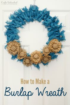 This Fall Burlap Wreath is so simple to make and a perfect addition to your front door this autumn season. No sewing or complicated craft required!
