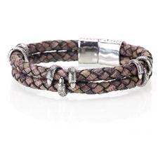 EAGLE BROWN - luxusný pánsky náramok - koža + chirurgická oceľ, 21cm Cool Mens Bracelets, Metal Bracelets, Handmade Bracelets, Fashion Bracelets, Handmade Jewelry, Beaded Bracelets, Charm Bracelets, Leather Chain, Leather Men