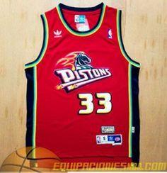 d729a19e1 Adidas Camiseta nba baratas replicas Detroit Pistons Hill  33 Retro rojo  malla pano €19.99