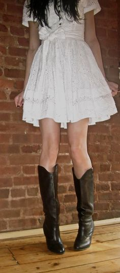 White lace dress with brown tights and cowboy boots | My ...