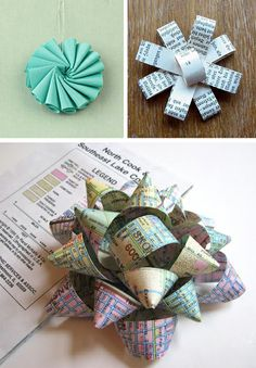Make a gift bows from magazine pages Fun Crafts, Arts And Crafts, Paper Crafts, Craft Gifts, Diy Gifts, Chicago Gifts, Do It Yourself Inspiration, Diy Papier, Gift Bows
