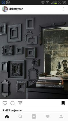 Black walls: it seems like people either love them or hate them. A black walled interior is certainly a bold design choice and not for everyone. Black walls command attention in the most dramatic of ways. They absorb a lot of natural light, so beRead Home Decor Ideas, Decorating Ideas, Empty Frames, Grey Room, Black Walls, Home And Deco, Interior And Exterior, Cosy Interior, Black Interior Design