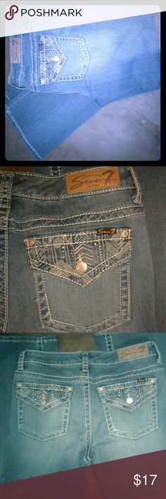"Seven7 jeans Low rise seven7 jeans with a slight stretch. ""Slim bootcut"" style with embellished pockets.  Women's size 12. No trades. Make me an offer. Seven7 Jeans Boot Cut"