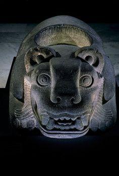 Jaguar shaped receptacle for hearts of sacrifice victims, Aztec, Mexico, Templo Mayor.