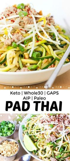 Keto Pad Thai is also Paleo, Whole30, GAPS and AIP! It's the freshest tasting Pad Thai ever, with authentic ingredients and flavors. However you eat, this is the Pad Thai for you! #keto #ketopadthai #whole30 #whole30padthai