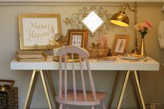 Gold and white sawhorse desk at The Shabby Cottage