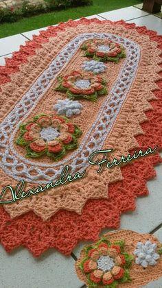 Tapete de croche Crochet Blanket Edging, Crochet Chart, Crochet Stitches, Manta Crochet, Crochet Mandala, Crochet Doilies, Crochet Flower Patterns, Doily Patterns, Crochet Flowers