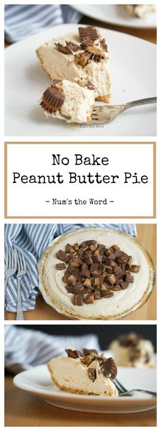 This easy, creamy No Bake Peanut Butter Pie recipe is the perfect treat for any peanut butter lover! Made with a graham cracker crust, cool whip and topped with peanut butter cups, this pie is a must have at your next dinner party or Holiday #pie #peanutbutter #peanutbutterpie #creamypeanutbutterpie #peanutbutterpierecipe #recipe #peanutbuttercup #grahamcrackercrust #oreocrust #peanutbutterchocolate #thanksgiving #thanksgivingpie #christmaspie #christmas #easter #easerpie #numstheword Best Dessert Recipes, Fun Desserts, Delicious Desserts, Yummy Food, Holiday Recipes, Peanut Butter Pie Recipe No Bake, Peanut Butter Desserts, Peanutbutter Pie No Bake, Cool Whip Pies