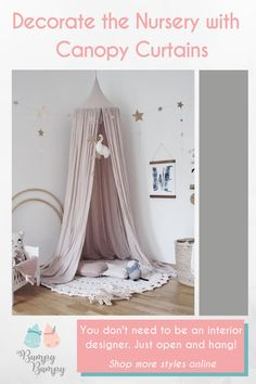 A charming way to decorate your girl's nursery: a lovely pink canopy curtain. Hang it over the crib or bed or use it to create an intimate reading nook. Pink Bedroom For Girls, Big Girl Rooms, Canopy Curtains, Canopy Over Crib, Cot Canopy, Kids Canopy, White Painted Furniture, Kids Bedroom Designs, Bedroom Styles