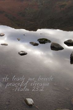 He leads me beside peaceful streams. Psalm23:2 / BIBLE IN MY LANGUAGE