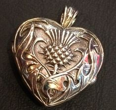 Heart and Scottish Thistle Locket - Sterling Silver by Maxine Miller #SterlingSilverHeart