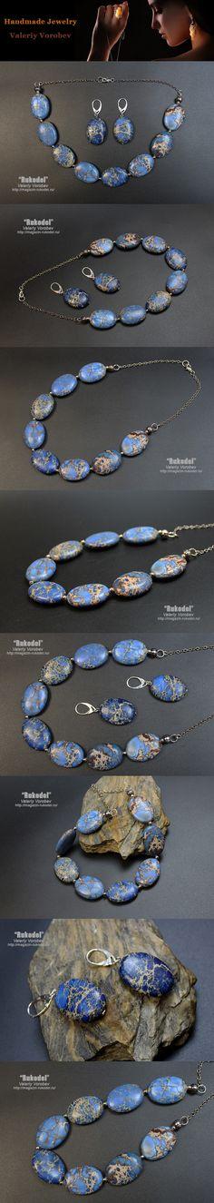 Handmade Jewelry of natural stone beads. Necklace. Earrings. Set - Necklace and earrings made of natural stone variscite.