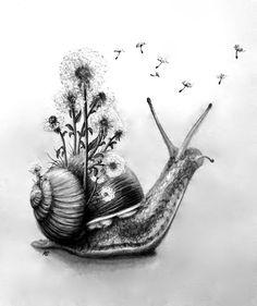 Snail Tattoo, Botanisches Tattoo, Owl Tattoo Drawings, Tatoo Art, Body Art Tattoos, Cute Drawings, Etch A Sketch, Mushroom Tattoos, Cute Small Tattoos