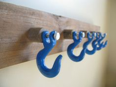 Industrial Coat Rack.  Wooden wall rack with Blue powder coated hooks…