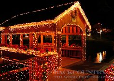 Christmas Covered Bridge (by TimDocT) Outdoor Christmas, Country Christmas, Christmas Lights, Holiday Lights, Christmas Cover, Christmas Scenes, Christmas Time, Christmas Ideas, Old Bridges