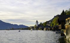 Sunset in a loch in Salzkammergut, Austria, concretely, this town is St. Wolfgang.
