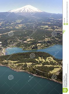 Aerial view of the city of pucon the slopes of Villarrica volcano, Chile