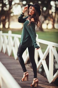 fall outfit comfy hat leather heels